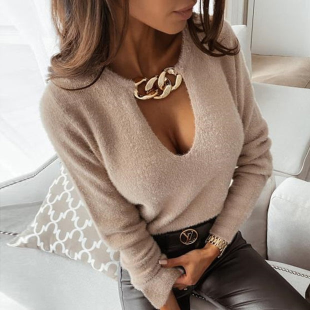 Fashion Metal Chain Hollow Out Blouse