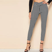 Trendy Plaid Wrap Waistband Elegant Pants