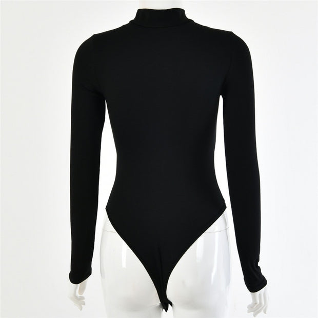 Fashion Neck Zipper Bodysuit