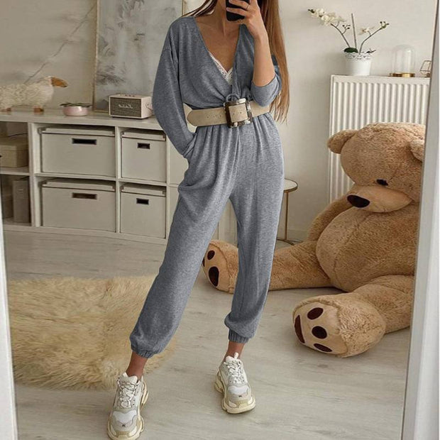 Knitted High Waist Harem Jumpsuit