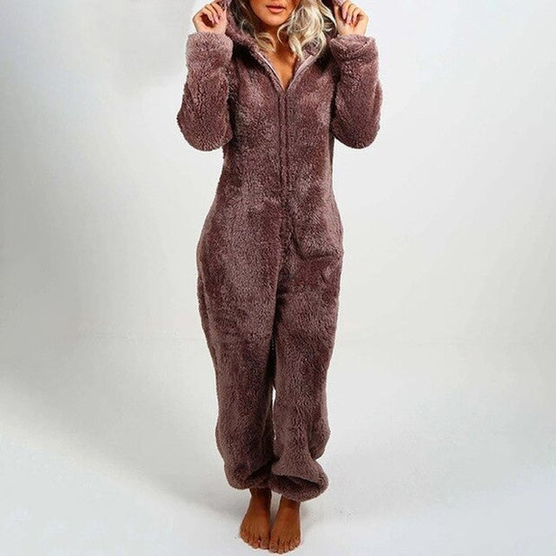 Fleece Bear Ear Hooded Pajama