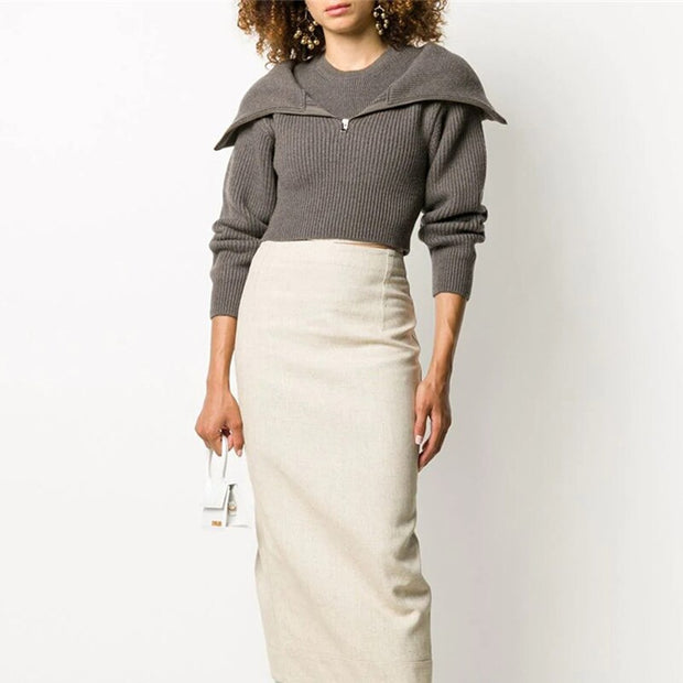 Collar Fake Two Piece Knit Sweater