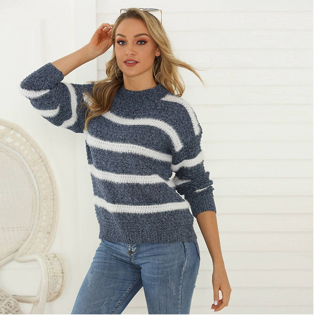 Knitted Warm Striped Pullover