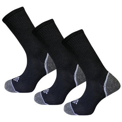 Black Athletic Performance Crew Socks with Infrared Technology