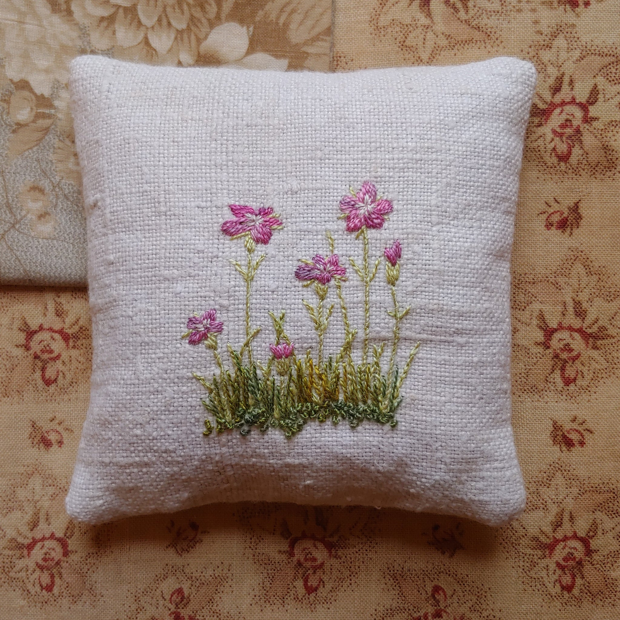 Corn Cockle Meadow Mini Pillow