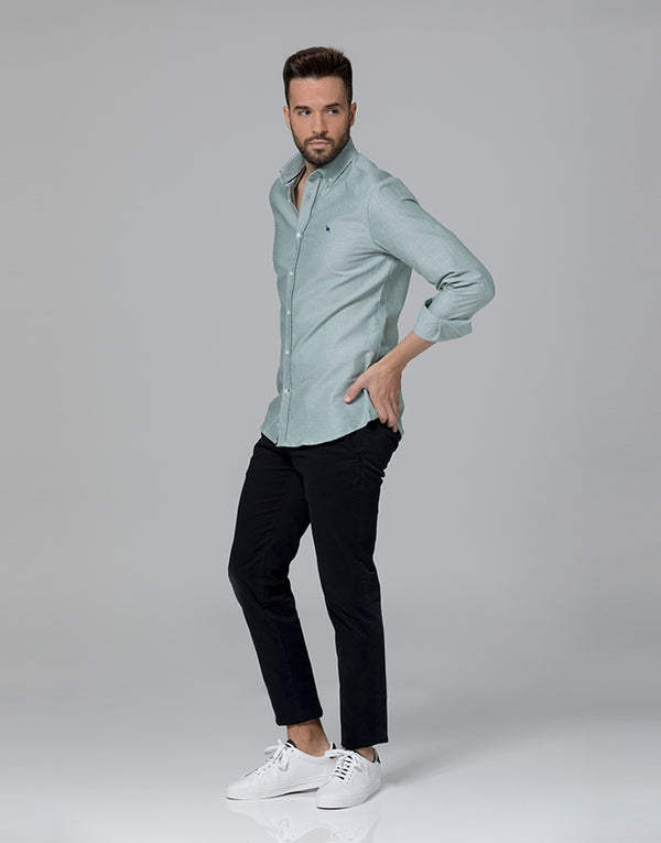 Camisa oxford lisa verde button down