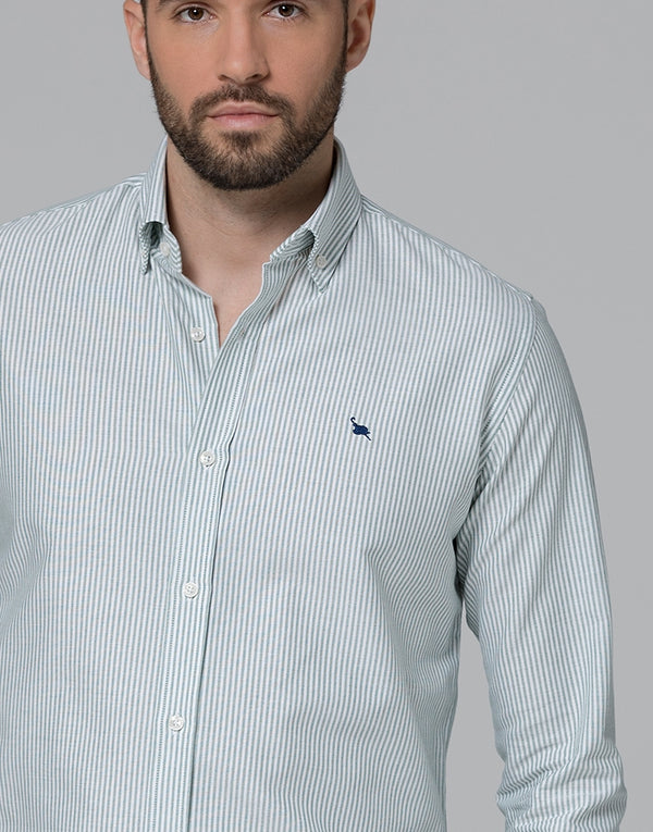 Camisa oxford rayas verde button down
