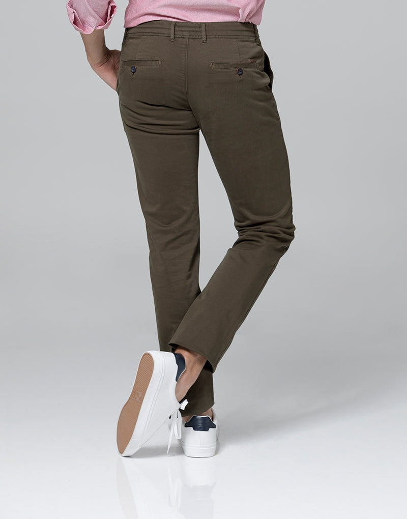 Pantalón casual verde slim fit