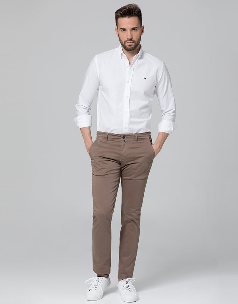 Camisa oxford lisa blanca mix botón