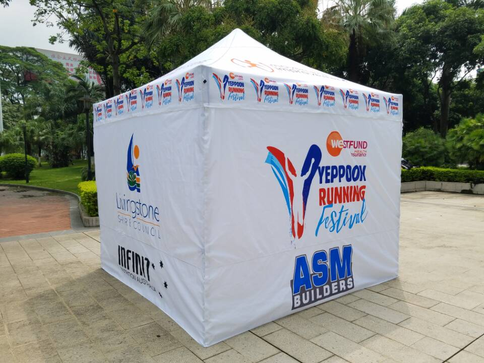 Sponsored Printed Foldable Marquees Gazebos For Triathlon Festival In Yeppoon, Queensland, Australia