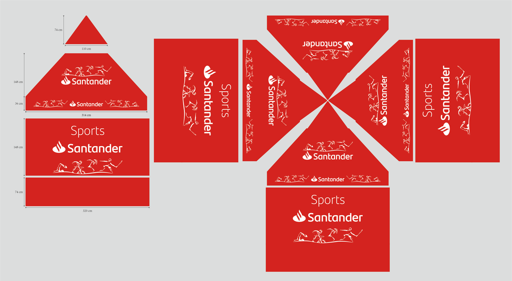 Aluminum Foldable Marquees Advertising For Santander Bank Spain