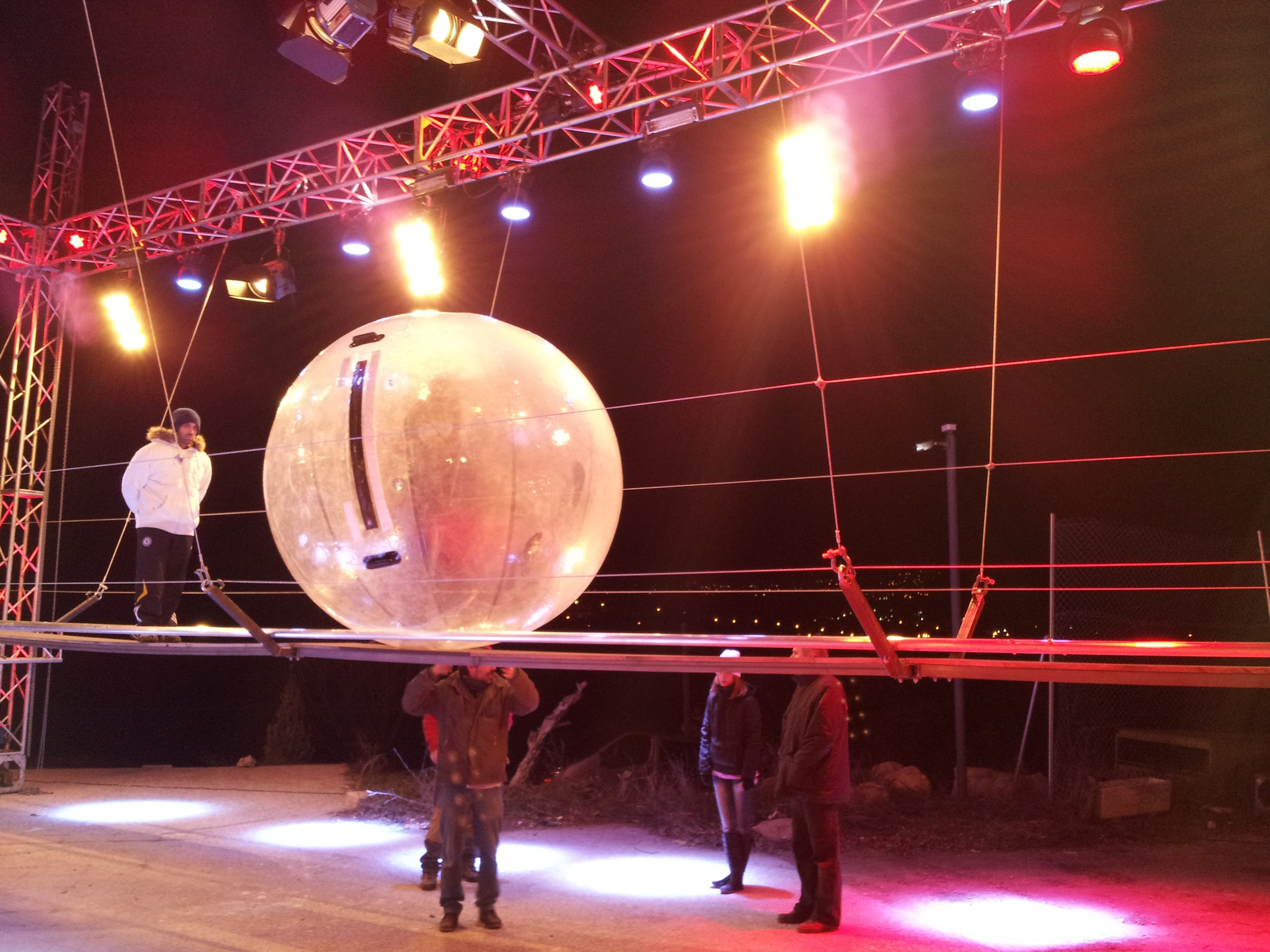 Transparent Crowd Surfing Balls For Television Activities