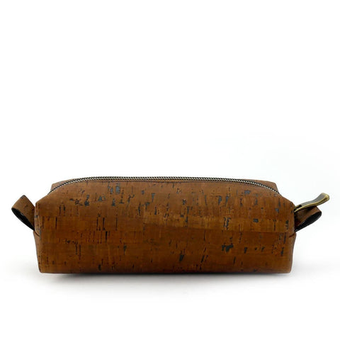 (Dark Natural) Clutch Cork Toiletry Dopp Bag Eco-Friendly