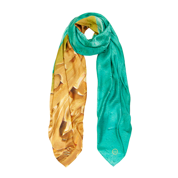 GREENS AND GOLDS SILK SCARF