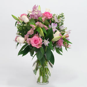 Pink and White Tall Mixed Vase