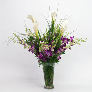 Elegant Orchids and Cala Lilies