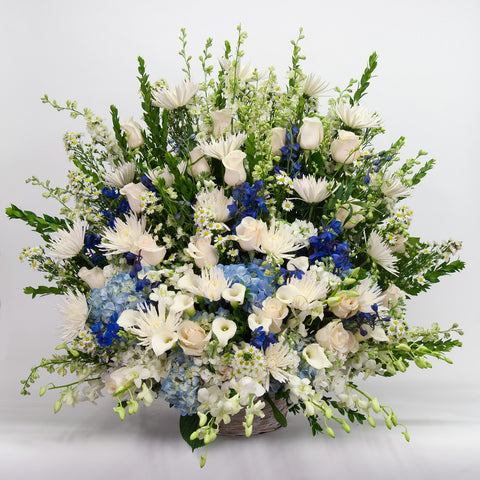 White and Blue Sympathy Basket