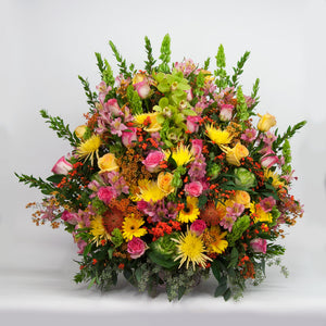 Lush Colorful Sympathy Basket