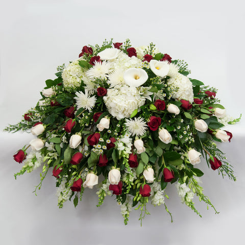 White and Red Rose Casket Spray
