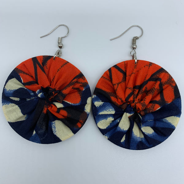 African Print Earrings-Round S Blue Variation 6