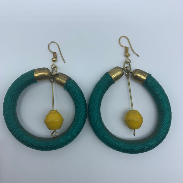 Thread Earrings W/Recycled Paper-Green Variation - Lillon Boutique