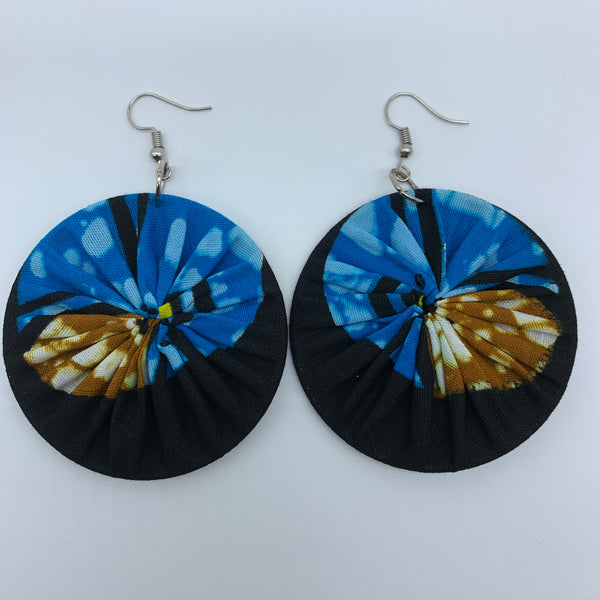 African Print Earrings-Round M Black Variation - Lillon Boutique