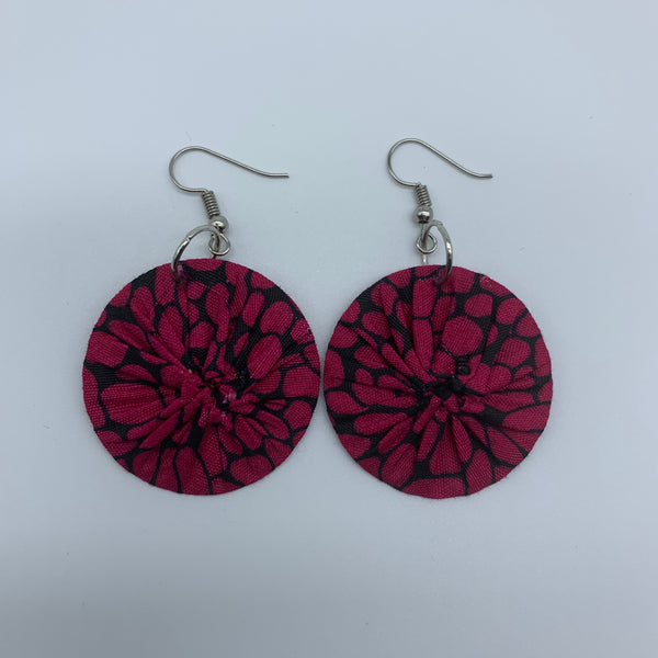 African Print Earrings-Round XS Pink Variation