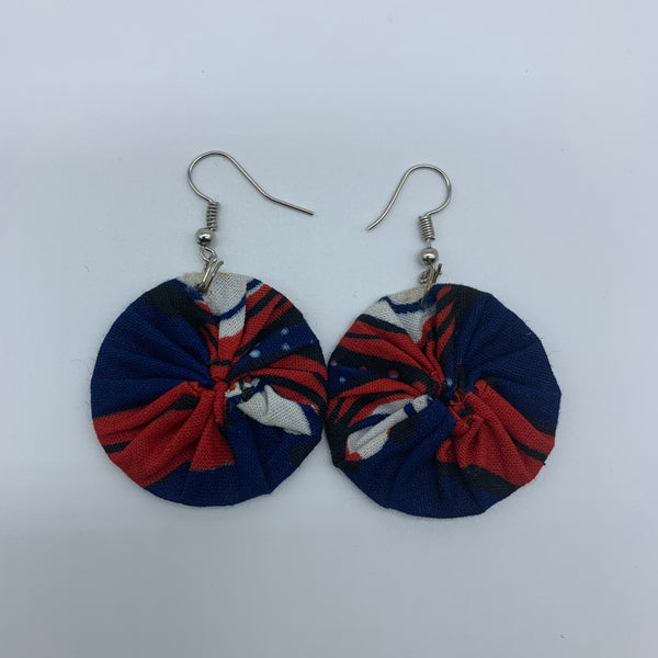 African Print Earrings-Round XS Blue Variation 18
