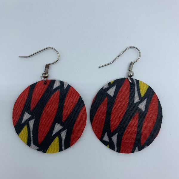 African Print Earrings-Round XS Red Variation 10