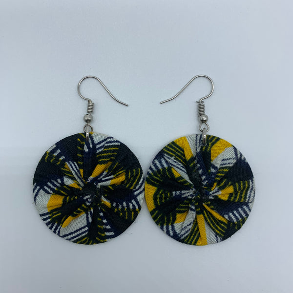 African Print Earrings-Round XS Yellow Variation 5 - Lillon Boutique