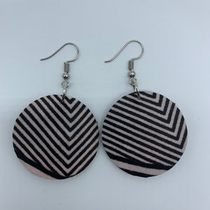 African Print Earrings-Round XS Brown Variation 4