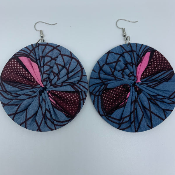 African Print Earrings-Round L Blue Variation 5