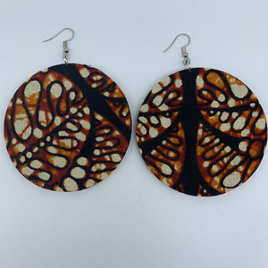 African Print Earrings-Round L Brown Variation 2