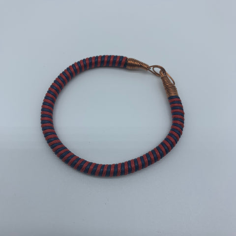 Thread W/Metal Wire Bracelet-Red Variation 4 - Lillon Boutique