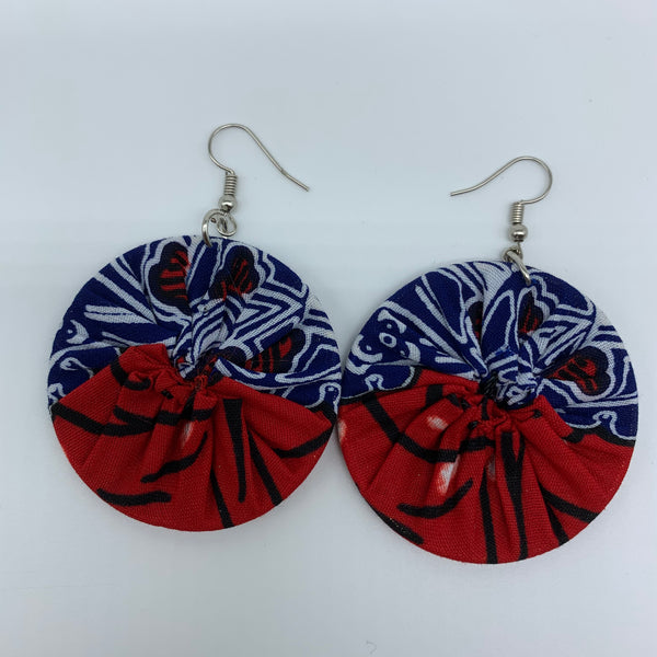 African Print Earrings-Round S Red Variation 7