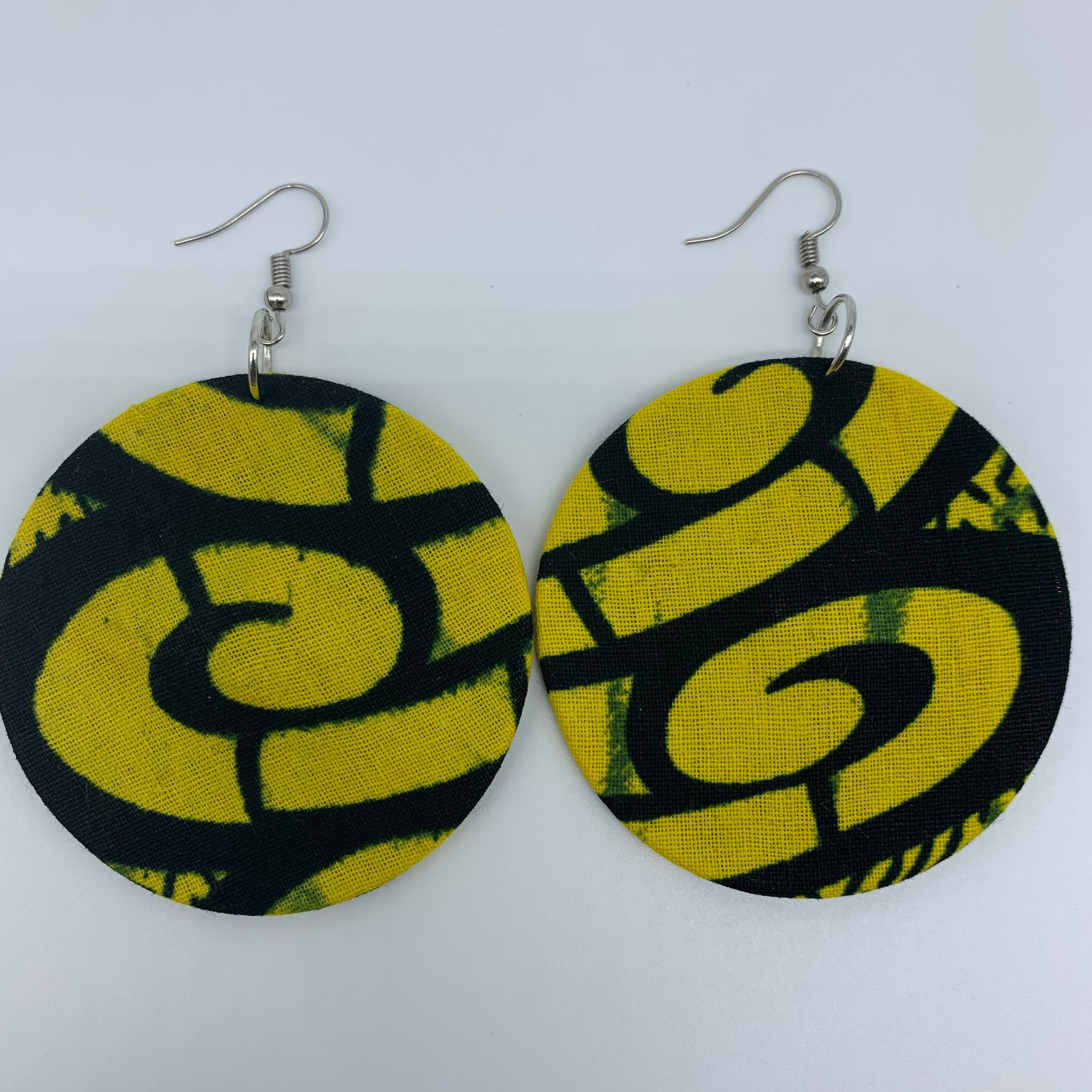 African Print Earrings-Round M Yellow Variation 3