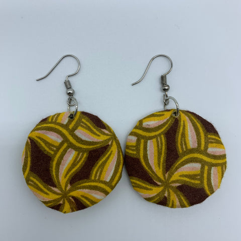 African Print Earrings-Round XS Yellow Variation 4 - Lillon Boutique