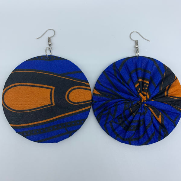 African Print Earrings-Round L Blue Variation 8