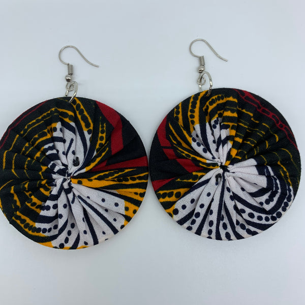 African Print Earrings-Round M Red Variation 12
