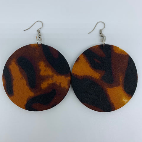 African Print Earrings-Round M Brown Variation 6
