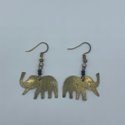 Brass Earrings-Elephant - Lillon Boutique