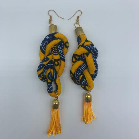 African Print Earrings-Knotted L Yellow Variation 2 - Lillon Boutique