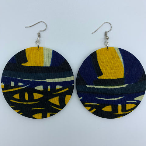 African Print Earrings-Round M Blue Variation 9 - Lillon Boutique
