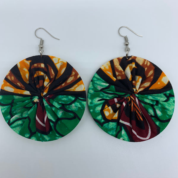 African Print Earrings-Round M Green Variation 2 - Lillon Boutique