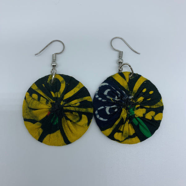 African Print Earrings-Round XS Yellow Variation 8