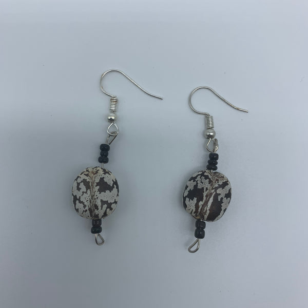 Seeds Earrings-White /Black Variation with Black Beads S