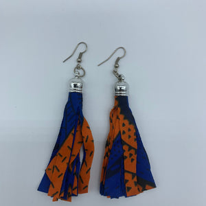 African Print Earrings-Tassel Blue Variation - Lillon Boutique
