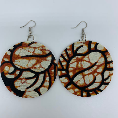 African Print Earrings-Round M Brown Variation