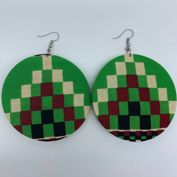 African Print Earrings-Round L Green Variation 3 - Lillon Boutique