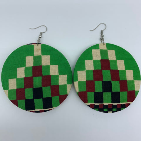 African Print Earrings-Round L Green Variation 3